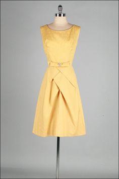 Vintage 1950s Dress, Gold Cotton Brocade, Mill Street Vintage, via Etsy.