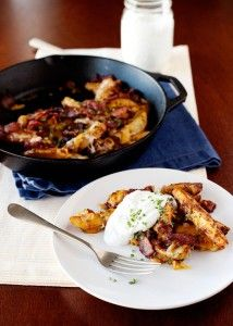 Baked Chili Cheese Fries with Bacon and Ranch (or maybe sour cream instead of ranch?)