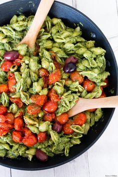 "veganfoodpornpictures: ""Bright and creamy Vegan Avocado Pesto Pasta with Burst Cherry… (Source) VeganFoodPornPictures.com | Vegan Cookbooks On Sale! Like Us On Facebook | Follow Us On Twitter"""