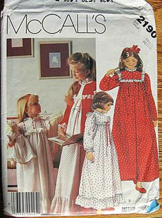 Children's Girls' Sleepwear, Nightgown and Robe, Matching Doll Nightgown McCall's 2190 Pattern Size Small 4-6. $6.00, via Etsy.