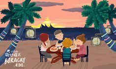 [ 跨年來去曬太陽 ☀ ☀ ☀ 長灘島篇 ] 沙灘夕陽晚餐Boracay's Beach Sunset Dinner -Travel illustrations by chichi