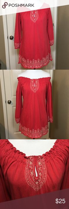 """Lucky Brand key hole Embroidered Coral top medium Bust 17.5"""", sleeve 19.5"""", length 25.5"""", slit at the bottom 4.5"""" Lucky Brand Tops"""