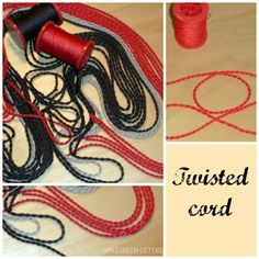 Home made twisted cord from thick sewing thread. Sewing Hacks, Sewing Crafts, Sewing Projects, Sewing Tips, Fabric Crafts, Sewing Ideas, Craft Projects, Craft Ideas, Diy Arts And Crafts