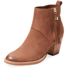 Steven by Steve Madden Women's Beti Nubuck Tassel Bootie - Brown -... ($100) ❤ liked on Polyvore featuring shoes, boots, ankle booties, brown, tassel ankle boots, short high heel boots, brown ankle booties, brown booties and brown boots