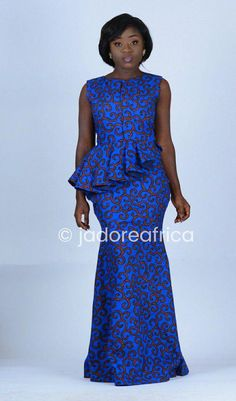 Blue African print maxi dress / African prom dress / African wedding dress / African clothing / Anka by beccaakuffo African Attire, African Wear, African Women, African Dress, African Prom Dresses, African Wedding Dress, African Fashion Dresses, Wedding Dresses, African Print Fashion
