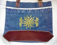 Denim Tote Bag with faux leather bead trim by XanderdooStitches