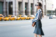 Stripe Mix :: Draped blouse & Pinstripe skirt