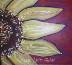 Step by Step beginners acrylic painting sunflower with red background