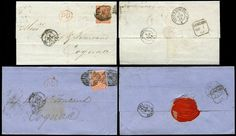 GB QV 1864 LONDON TWIN 46 CANCELS on 4d SMALL LETTERS 2 COVERS to COGNAC cv £500 | eBay