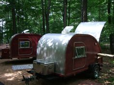 more of the Twins. Teardrop Campers, Teardrop Trailer, Tiny Camper, Camping Style, Woody, Motorhome, Tear Drops, Trailers, Twins