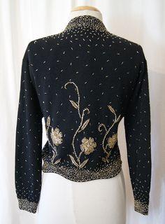 1950's Black Lambs Wool & Angora Hand Beaded Cardigan - Size L