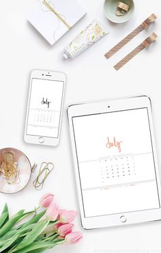 July 2016 Digital Hand lettered Calendar - Delineate Your Dwelling