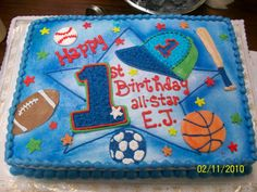 All star 1st birthday cake in sports theme.