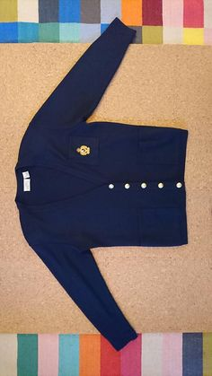 """063b6aab27 80s Era Vintage Navy Cardigan Sweater School Uniform in Women's Size Small  with a 38"""""""