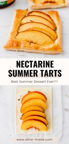 These utterly tasty mini vegan nectarine and peach puff pastry tarts are the perfect summer fruit dessert! Peach Tarts are so easy and quick to make, and every stone fruit lover adores them! Homemade Cake Recipes, Tart Recipes, Vegan Recipes Easy, Oven Recipes, Peanut Butter Desserts, No Bake Desserts, Dessert Recipes, Peach Puff Pastry, Baked Banana
