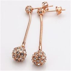Hot Sale Earrings Rose Gold Color Romantic  Fashion Jewelry Czech Drilling Hanging ball1 Stud Earrings