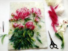 живопись шерстью, шерсть, картины шерстью, рисуем шерстью, пионы, цветы, лето, александра фёдорова