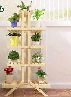Imagen relacionada - Home Dekoration Ideen Wooden Plant Stands, Diy Plant Stand, Garden Shelves, Plant Shelves, Book Shelves, Garden Furniture, Diy Furniture, Home Crafts, Diy Home Decor