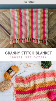 This modern crochet granny stitch blanket free pattern and tutorial is super easy. The tassels make it perfect for a baby nursery or a grown up couch! Crochet Squares Afghan, Afghan Crochet Patterns, Baby Blanket Crochet, Crochet Granny, Crochet Afghans, Crochet Blankets, Diy Blankets, Granny Pattern, Free Crochet