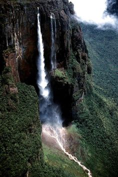 Tallest Waterfall in the World - Salto Angel (Angel Falls), Venezuela Places Around The World, Travel Around The World, Around The Worlds, Beautiful Waterfalls, Beautiful Landscapes, Angel Falls Venezuela, Places To Travel, Places To See, Wonderful Places