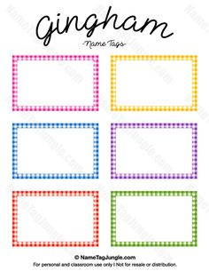 Free printable gingham name tags. The template can also be used for creating items like labels and place cards. Download the PDF at http://nametagjungle.com/name-tag/gingham/