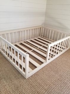 Montessori floor bed with rails full or double size floor bed hardwood made in USA INCLUDES SLATS Christmas sale - bett. Diy Toddler Bed, Toddler Rooms, Toddler Bed On Floor, Floor Beds For Toddlers, Full Size Toddler Bed, Toddler Beds For Boys, Baby Floor Bed, Toddler Boy Room Ideas, Unique Toddler Beds