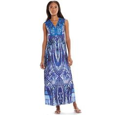 Apt 9 Crocheted Ladder Lace Maxi Dress Sz Large Sublimation Blue Heavenly Print #Apt9 #Maxi #Casual