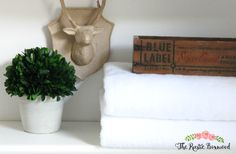 Guest Bathroom Makeover Reveal | The Rustic Boxwood | vintage box, faux boxwood, paper mache, white, remodel, diy, makeover