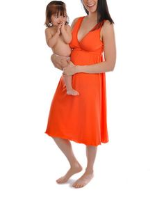 Another great find on #zulily! Tangerine Tango Signature Nursing Nightgown - Women by Amamante Nursingwear #zulilyfinds