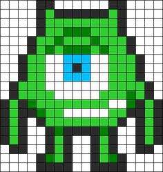 Monsters Inc Mike Wazowki perler bead pattern