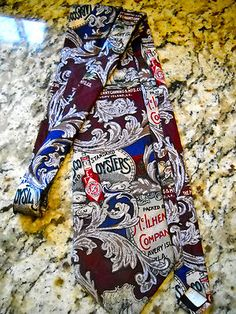 Tabasco Hot Sauce Oysters Peppers Vintage Tie Red Blue Silk McIlhenny Co. USA  $9.50