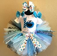 Cookie+Monster+Baby+Girls+Birthday+Tutu+Set