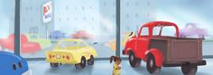 """Tony in the car lot, from """"A Truck Named Tony"""" by Jane Hawkins, illustrated by David Barrow, published by Doodle and Peck"""
