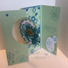 The card base is Pistachio Pudding and the mat pieces are Marina Mist and All Albloom DSP. Step Cards, Diy Cards, Card Crafts, Paper Crafts, Side Step Card, Swing Card, Pistachio Pudding, Stampin Up Catalog, Fancy Fold Cards