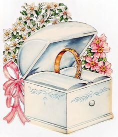 1949 wedding card by via Wedding Drawing, Wedding Art, Wedding Album, Wedding Images, Vintage Wedding Cards, Vintage Greeting Cards, Vintage Ephemera, Cadeau Couple, Wedding Illustration