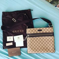 Authentic Gucci Crossbody bag Authentic like new Gucci Crossbody bag. Only used once and decided to buy something bigger. No stains or rips. Perfect condition. Comes with dust bag, receipt, and authentic cards. Details of the bag is in last photo. Gucci Bags Crossbody Bags