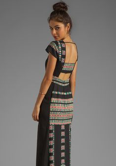 BCBGMAXAZRIA Embroidery Maude Maxi Dress in Black Combo