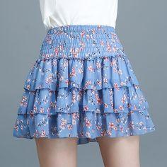 Mumustar Women Short Skirt Red Elasticated Waist Floral Print Ruffles Summer Ladies Girls Casual Petticoat Mini Skirt Stretchy Skirts
