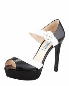 X1TWB Prada Peep-Toe Ankle Strap Platform, Black/White