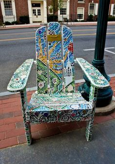 Need some mosaic tile to recreate this Adirondack chair? Check out our mosaic station. Mosaic Crafts, Mosaic Projects, Mosaic Art, Mosaic Glass, Mosaic Tiles, Glass Art, Stained Glass, Mosaic Furniture, Funky Furniture