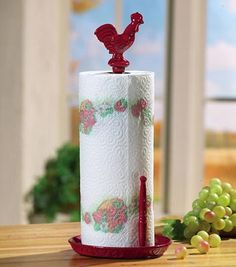 Rooster Kitchen Decor | Red Rooster Decor Metal Paper Towel Holder from Collections Etc.