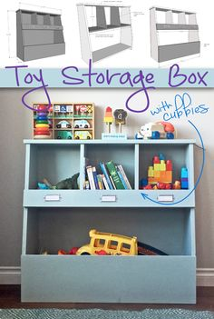 Toy Storage Box with Cubbies: Keep your home organized and your kids& toys o. Toy Storage Box with Cubbies: Keep your home organized and your kids& toys out of the way with this simple, yet stylish DIY storage bin project tutorial. Kids Storage Bins, Toy Storage Solutions, Diy Storage Boxes, Toy Bins, Cubby Storage, Cubby Shelves, Storage Ideas, Clothes Storage, Diy Clothes