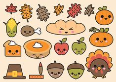Prime Vector Clipart Kawaii Thanksgiving par LookLookPrettyPaper