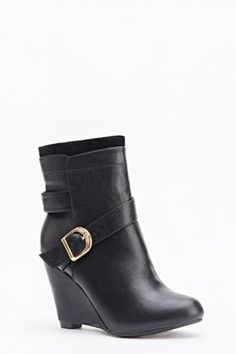 Faux Leather Wedged Boots