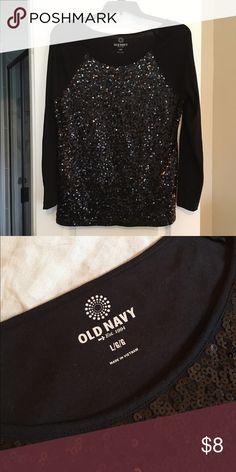 Old Navy Sequin Knit Top Old Navy sequin knit top - black - sz large Old Navy Tops Tees - Long Sleeve