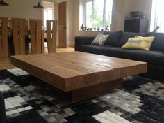 oak beam coffee table from abacus tables arabica 6 beam floating style 1290 X 2000mm