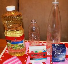 Make a home made lova lamp with a water bottle and a longer bottle , oil , food colouring ,alka seltzer really dose not matter what order they go in. U should find all this at target,walmart.Enjoy