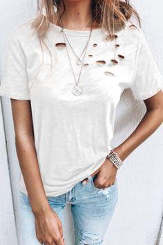 White Short Sleeve Tops, Short Sleeve Blouse, White Tops, Short Sleeves, Loose Shirts, Casual T Shirts, Classic T Shirts, Shirts With Holes, Shirt Style