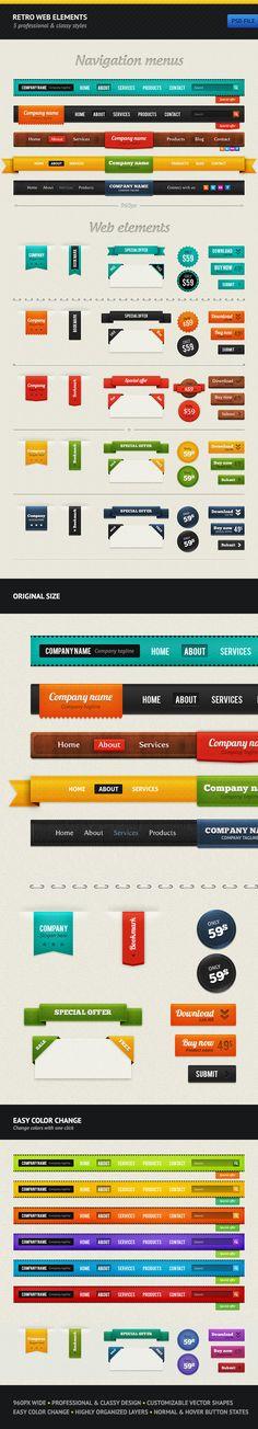 Retro Web Elements by vladedimovski.deviantart.com on @deviantART