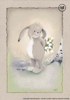 by Kaarina Toivanen Bunny Book, Bunny Art, Cute Bunny, Funny Drawings, Rabbit Art, Tole Painting, Pretty And Cute, Cute Illustration, Creative Cards